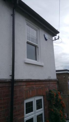 Double glazed PVC window installation